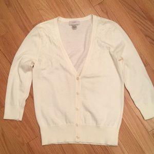 LOFT Cream Sequin 3/4 Sleeve Cardigan